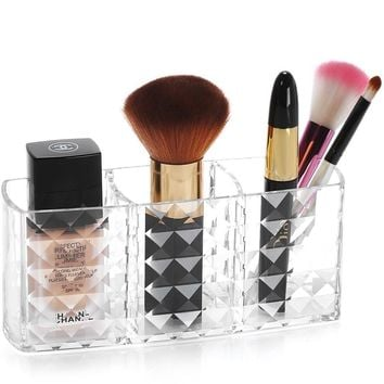 Weiai Clear Acrylic Three Cups Makeup Brush Organizer Pencil Holder Cosmetic Storage C178