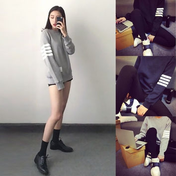 New Autumn Long Sleeve Pullover Casual Women Stripe Hoody Sweater F_B = 1920042820