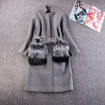 My New In Women Winter Coats Jackets 2017 Autumn Winter Grey Wool Coat Fur Pocekt Long Parka Warm Outwear casaco feminino