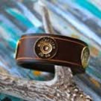 "Lizzy J 1"" Brown Leather Cuff Bracelet"