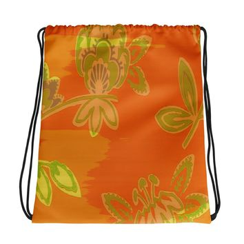 Hawaiian Vintage Floral Spray in Orange Green Drawstring bag