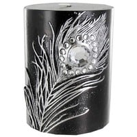 "3"" x 4"" Black Candle with Metallic Silver Feather 