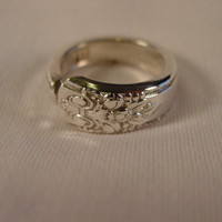 A Spoon Rings Plus Adoration Pattern Spoon Ring Size 8 1/2 Vintage Silverware Jewelry t49