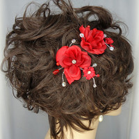 Red Rose Hair Comb Duo Bridal Hair Accessory Bridesmaid Hair Accessory Wedding Accessory Set of 2