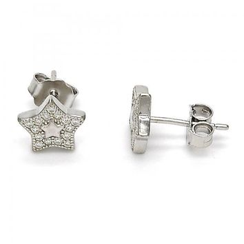 Sterling Silver 02.292.0013 Stud Earring, Star Design, with White Micro Pave, Polished Finish, Rhodium Tone