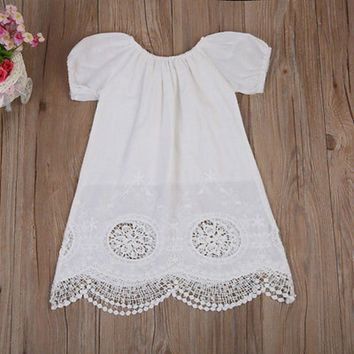Lovely Toddler Baby Girls dress puff Sleeve Dress  lace hollow out dress Casual Summer  a-lined Sundress