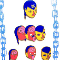 COMPLETE HEAD SPLICER Enamel Pin Set By Penelope Gazin