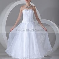Strapless Satin Ankle Length Wedding Dress with Organza Skirt