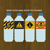 Construction Worker Party Water Bottle Labels - Heavy Construction Equipment Printable Birthday Water Bottle Labels