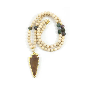 Arrowhead Necklace, Arrow Necklace, Jasper Arrowhead Pendant, Beaded, White Wood, Beaded Necklace, Tribal, Native, Gold Necklace