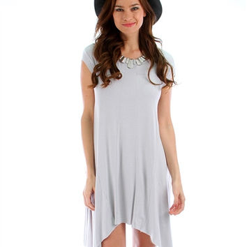 Lost Reverie Oversized T-Shirt Dress: Grey