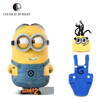 Cartoon Movie Despicable Me 2 Kawaii Minions baby hat newborn photography props baby clothing crochet outfits photo props HK550