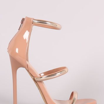 Triple Metallic Accent Straps Stiletto Heel | UrbanOG