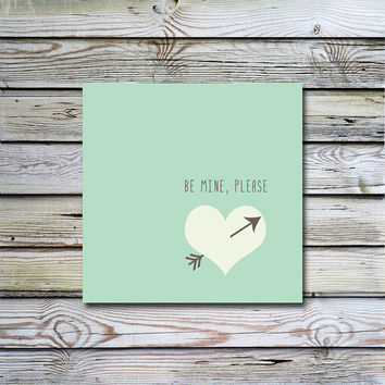 Valentine's card Be Mine please Square card Instant Download Printable