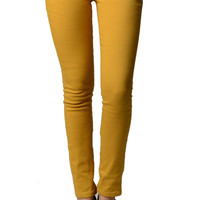 Mustard Color Denim Skinny Jeans