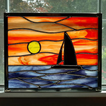 Sailboat Sunset Stained Glass Window Panel, Ocean Sunset, Seascape, Beach Decor, Coastal Decor, Nautical Decor, Orange, Boat Lover Gift