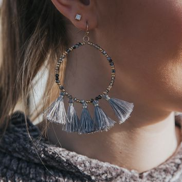 Beaded Hoop Earring, Grey