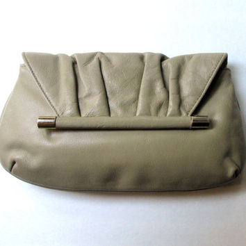 Clutch Bag envelope purse vintage 60s taupe tan light brown ruched leather handbag Mad Men purse Margolin