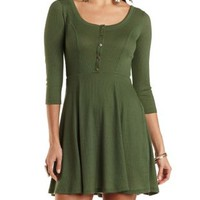 Ribbed Scoop Neck Skater Dress by Charlotte Russe