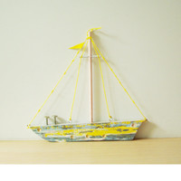Yellow wooden sailboat, folk art, salvaged wood sailboat in yellow and grey, Greek, two sided, wooden sailboat