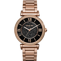 Caitlin Rose Golden Watch with Black Dial - Michael Kors