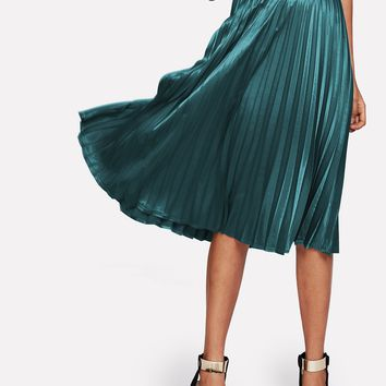 Zip Closure Pleated Satin Skirt