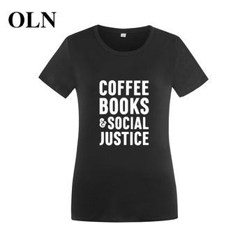 COFFEE BOOKS SOCIAL JUSTICE Cotton T Shirt