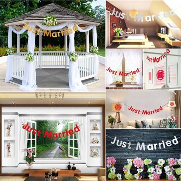 Bunting Just Married Banner Garland Wedding Party Decoration Photo Props