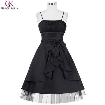 Black Bridesmaid Dresses Grace Karin Taffeta Bow Tie Spaghetti Strap Plus Size Formal Gowns Pretty Short Wedding Party Dresses