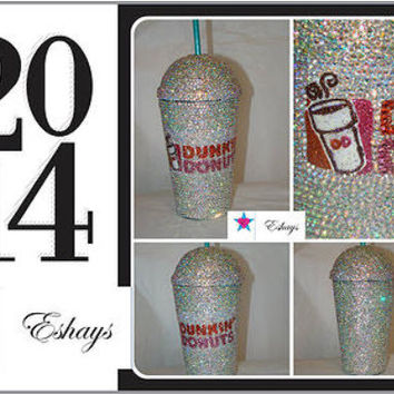 Cup- Custom Dunkin Donut Bling Rhinestone Cup with Bubble Lid 16oz