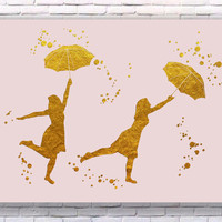 Umbrella Girls Gold Art Print Instant Download Printable Rose Edition