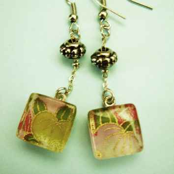 Jewelry, Necklace, Glass Pendant, Glass Earring's, Floral Jewelry, Handmade Jewelry
