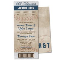 Vintage Baseball Wedding Invitations Tickets