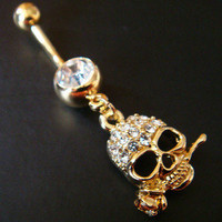 14g Skull Rose Belly Button Navel Rings Ring Bar Body Piercing Jewelry GIFT U86