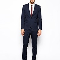 ASOS Skinny Fit Suit Jacket in Navy