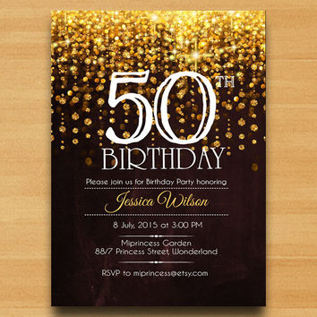 Elegant Birthday Invitation Party 30th 40th 50th 60th 70th 80th 9