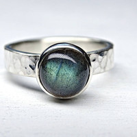 blue labradorite ring silver, alternative engagement ring unique, blue gemstone ring hammered, silver promise ring labradorite gift for her