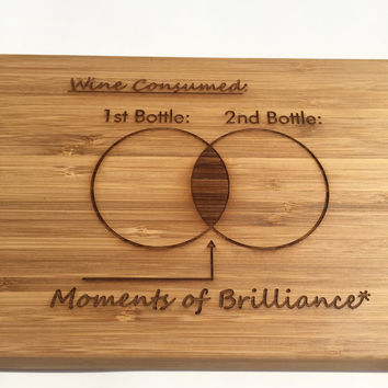 SALE! Wine Lover's Brilliant Cutting Board - Laser Engraved - Kitchen Art, Engraved Wood Bamboo Kitchen Decor, Geekery