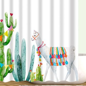 Cactus Print Shower Curtain With 12 Hooks