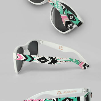 Sunglasses - Aztec print Tribal trend fashion sunglasses unique hand painted - pastel pink mint natural black
