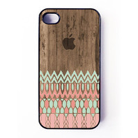 Iphone 4 Case - Geometric Aztec Pattern On Wood iPhone case for iPhone 4 / 4S