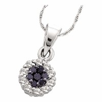 14kt White Gold Women's Round Black Color Enhanced Diamond Framed Flower Cluster Pendant 1-4 Cttw - FREE Shipping (US/CAN)