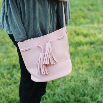 Mini Tassel Bucket Bag - Blush