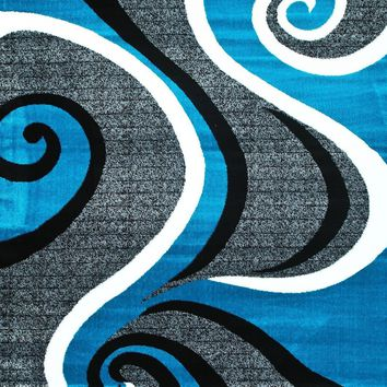 2702 Turquoise Abstract Contemporary Area Rugs