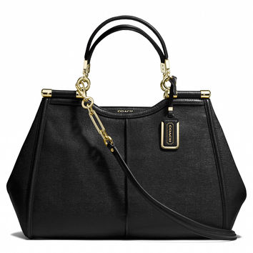 madison caroline satchel in textured leather