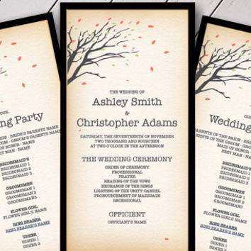 DIY Rustic November Wedding Program Template - Printable Fall Wedding Programs with Autumn Trees - Customizable in Acrobat Reader
