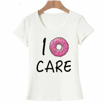 I Donut CARE Hot Summer Women T Shirt Funny Print Tees Couple Tops