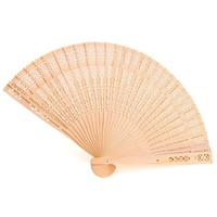 Leegoal Chinese Fans Chinese Sandalwood Scented Wooden Openwork Folding Fan (Set of 12)