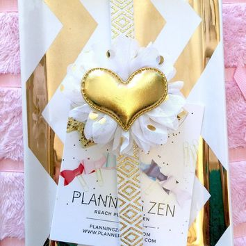 White with Gold Tribal Print Planner Band with Puffy Gold Heart on White & Gold Flower