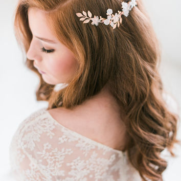 Rose gold floral comb - style 3002
